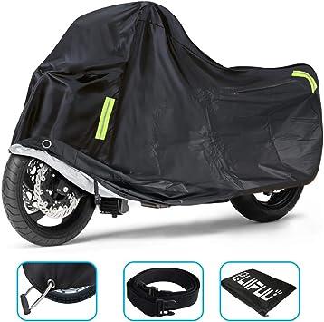 Funda Moto All Weather Cubierta de la Motocicleta al Aire Libre Impermeable a Prueba de Polvo UV Transpirable con Agujeros de Bloqueo y Correa a Prueba de Viento