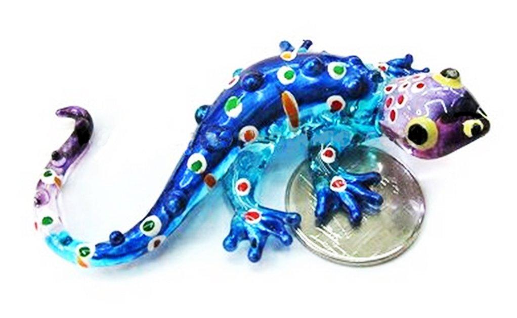 Lampwork COLLECTIBLE MINIATURE HAND BLOWN Art GLASS Gecko Blue S FIGURINE ChangThai Design 6085326