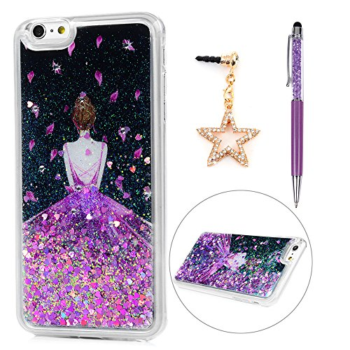 iPhone 6 Plus Case, iPhone 6S Plus Case, Shiny Diamond Purple Dress Girl Bling Case Glitter Powder Quicksand Soft TPU Frame & PC Back Slim Fit Lightweight Cover & Dust - Purple Shiny