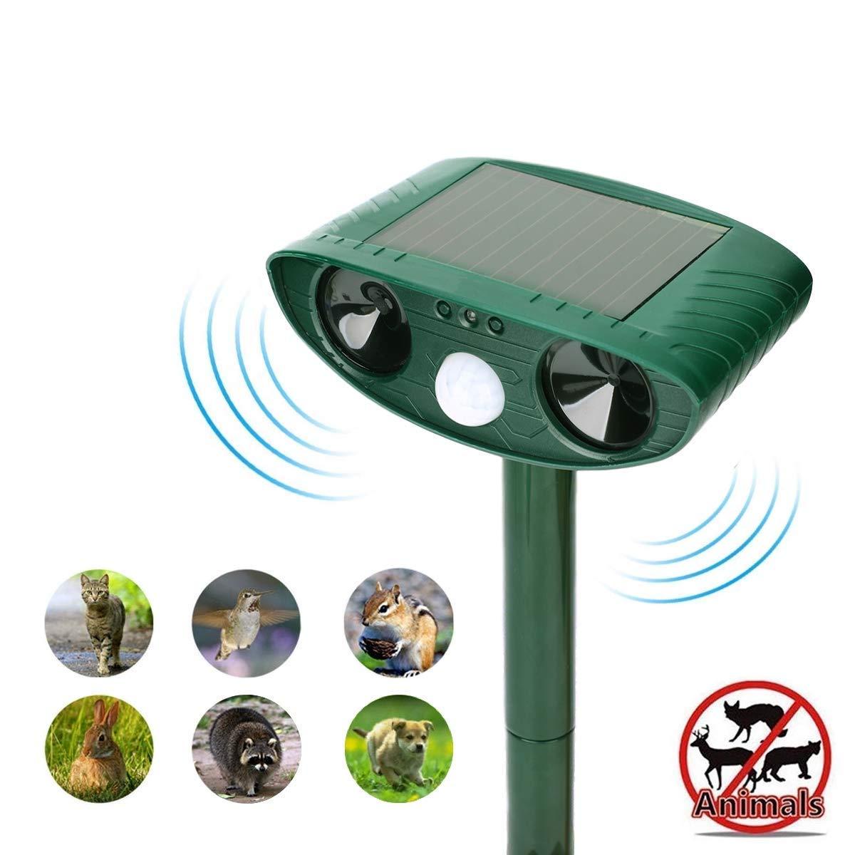 Ultrasonic Animal Repeller, Solar repellent with Motion Sensor Ultrasonic and Red Flashing lights Outdoor Waterproof Farm Garden Yard repellent, Cats, Dogs, Foxes, Birds, Skunks, Rodent, Deer, Raccoon