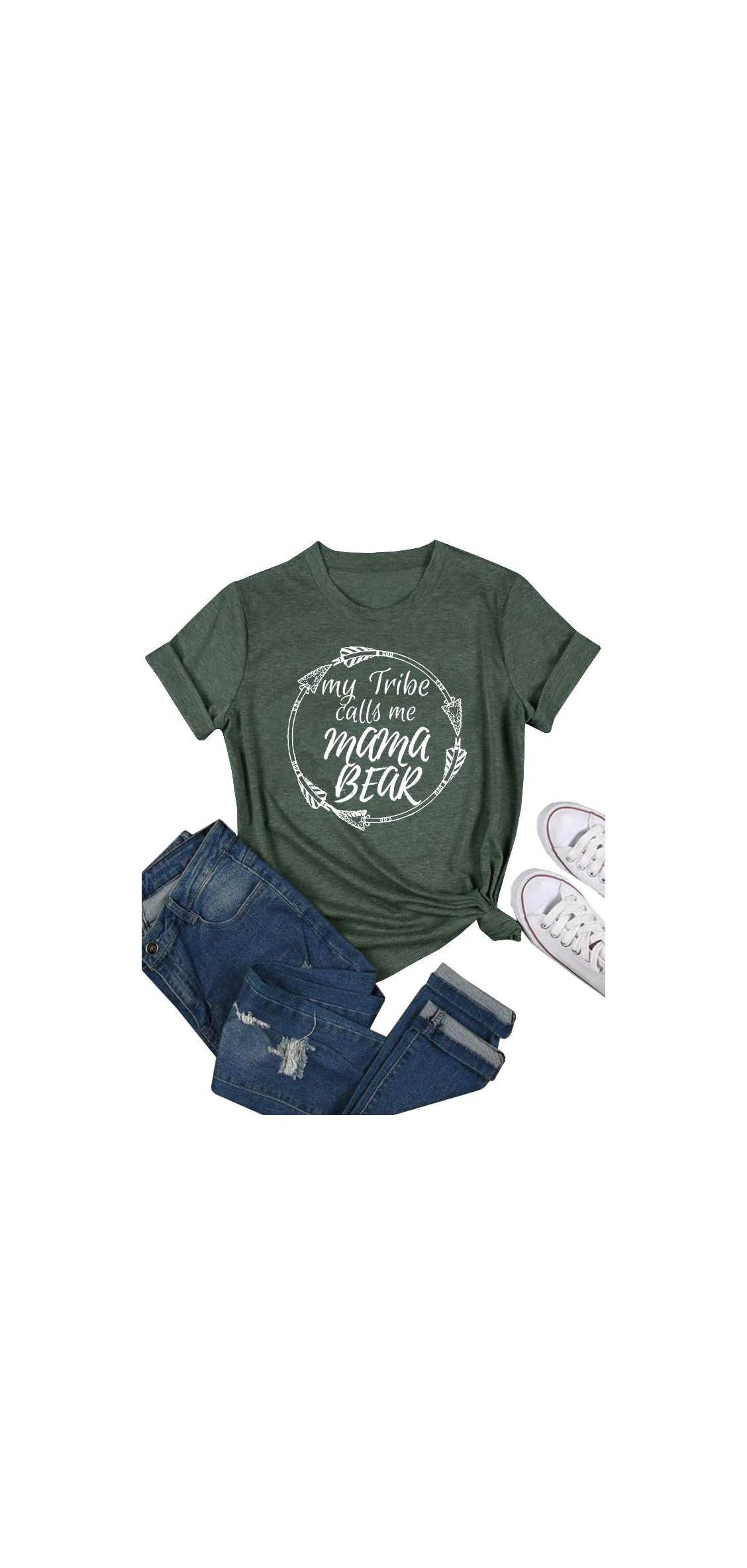 Womens Mama Bear Shirts Short Sleeve T-shirt Summer Tee