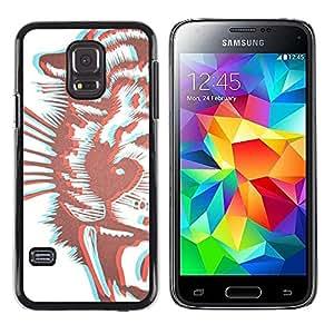 FECELL CITY // Duro Aluminio Pegatina PC Caso decorativo Funda Carcasa de Protección para Samsung Galaxy S5 Mini, SM-G800, NOT S5 REGULAR! // Tiger 3D Brown Drawing Stereoscopic