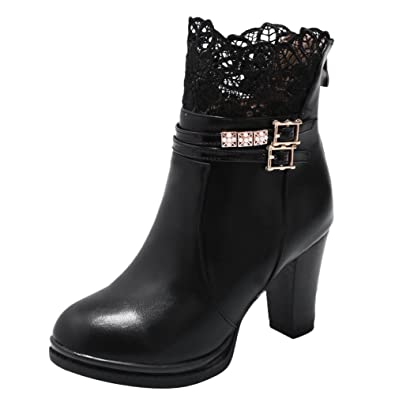 Women's Sexy Laces Ankle Buckles Zip Dress Boots