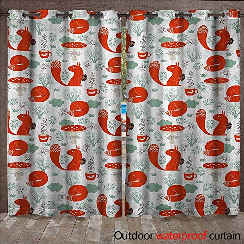 BlountDecor Kids Indoor Outdoor Curtain Animals Nature Whimsical Squirrel Sleeping Fox Fungus Hot TeaW120 x L84 Reseda Green Vermilion Dark Brown -