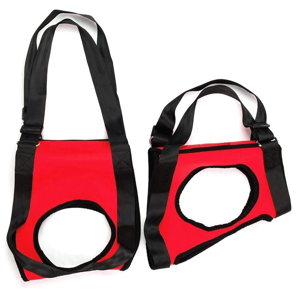 CreaTion Dogs Front & Rear Lift Harness - Red Soft - Helps Older Dog/Arthritic/ Weak Joints/Rehabilitate, Lifting Assist Stand Up or Out Car Stairs, Outdoors