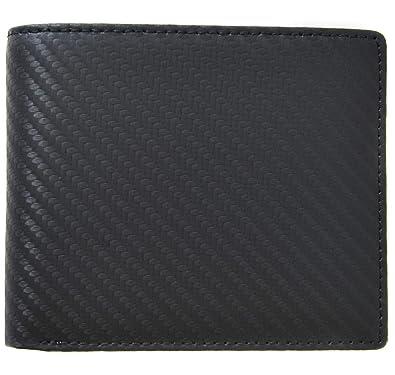 36643b2806fa ブラック F イタリア産 カーボン レザー 二つ折り メンズ 財布 カーボンレザー 本革 薄型 大
