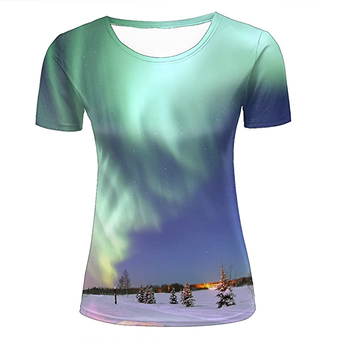 para hombre 3D Print Green aurora borealis Graphic T Shirts Couple Tees