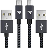 RAMPOW Braided Micro-USB Cable [2-Pack 3.3ft] Android Charger Cable/Samsung Fast Charging Compatible Cable with Galaxy S7/S6, Sony, Motorola and more - Space Gray