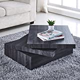 NewRetailGlobal Black Coffee Table Oak Square Rotating Contemporary Modern Living Room Furniture
