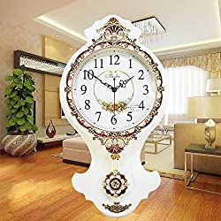 MCC Retro Creative Wall Clock Deluxe High Up Simple Modern Style European Antique Gift Solid Wood Mute Clock , B