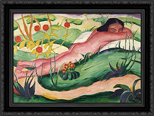 Nude Lying In The Flowers 24x20 Black Ornate Wood Framed Canvas Art by Marc, Franz