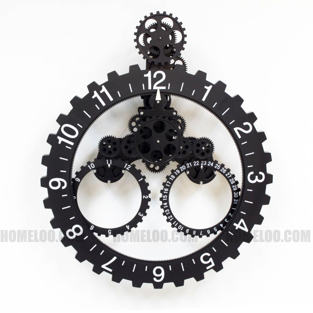 Amazon modern contemporary mechanical gear wall clock with amazon modern contemporary mechanical gear wall clock with calendar wheel black home kitchen amipublicfo Gallery
