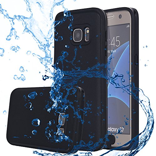 Galaxy S7 Waterproof Case, Pandawell™ Super Slim Thin Light [360 All Round Protective] Full-Sealed IPX-6 Waterproof Shockproof Dust/Snow Proof Case Cover for Samsung Galaxy S7 - Black