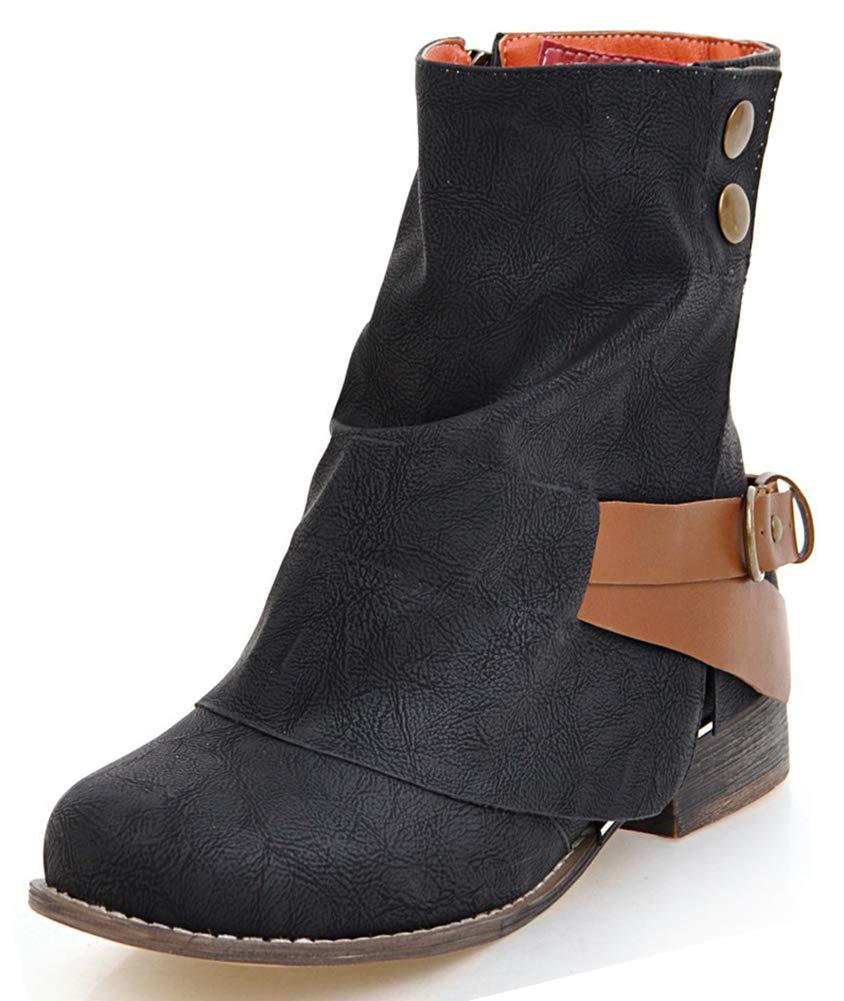 IDIFU Women's Dressy Chunky Low Heeled Round Toe Zip up Short Ankle High Booties (Black, 12 B(M) US)