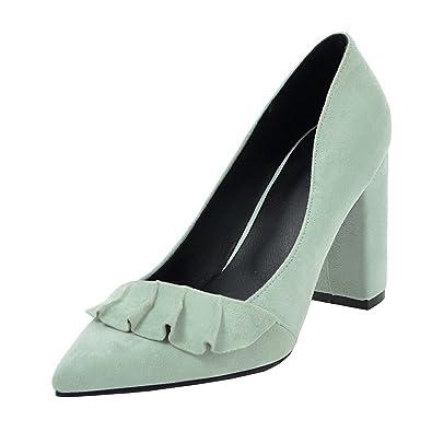 Agodor Damen Spitze High Heels Pumps mit Blockabsatz 9cm Absatz Nubukleder Elegant Schuhe