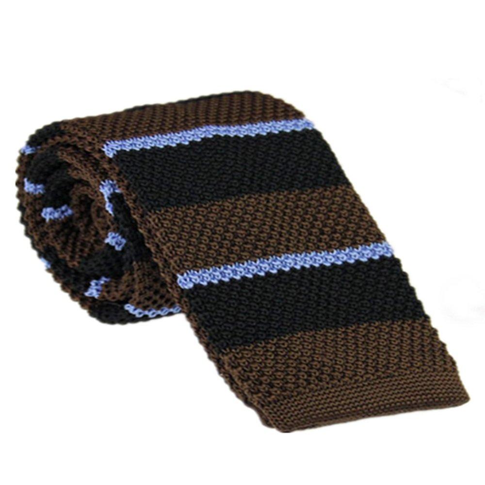 Dig Dog Bone Mens Tie Striped Wool Flat Tie Narrow Tie Knitted Tie