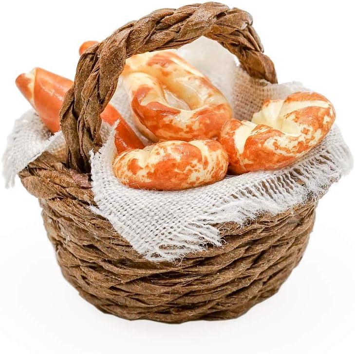 Dollhouse Miniature Freshly Baked Loaves of Bread in Wicker Basket  B0131