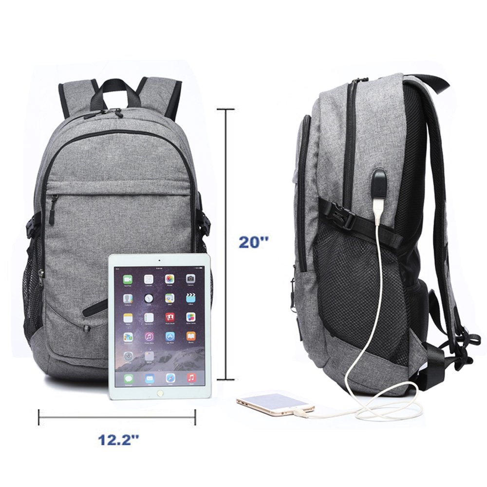 Amazon.com: Business Backpack for Boys or Men, Laptop Backpack with USB Charging Ports, Canvas Waterproof Backpack for Sports, Grey Backpack for Students at ...