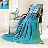 Digital Printing Blanket Stone Gorge and Pavilion Asian Faith Temple Grace Scenery Summer Quilt Comforter