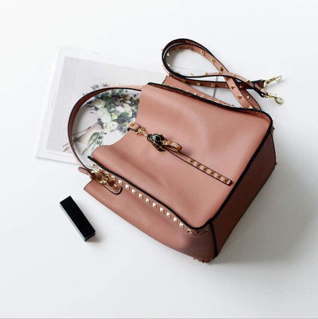 HFF0TLH Shoulder Bags,Leather Handbags Leopard Head Inlaid Handbag Soft Leather Mother Bag Bucket Bag Large Capacity Shoulder Bag Wild Messenger Bag Handbag Handbag Fashion Handbag,Red,L
