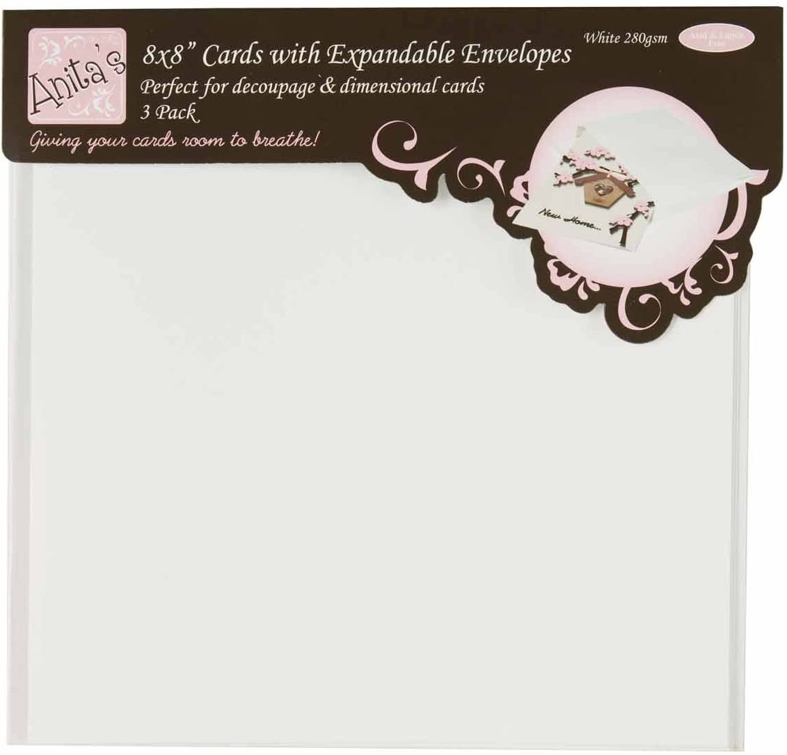 "DoCrafts 8/"" x 8/"" Card /& Enveloped Pack of 6 White"