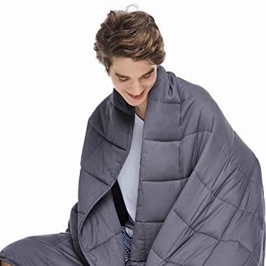 ZonLi Adults Weighted Blanket 20 lbs(60''x80'', Grey, Queen Size), Cooling Weighted Blanket for Adults 180-220 lbs, Premium Cotton with Glass Beads