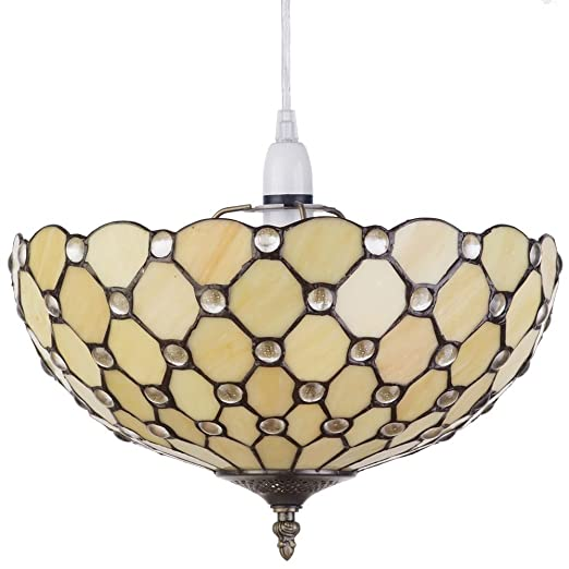 Easy fit ceiling lamp shade deep dish uplighter in yellow tiffany easy fit ceiling lamp shade deep dish uplighter in yellow tiffany style living room hallway bedroom aloadofball Images