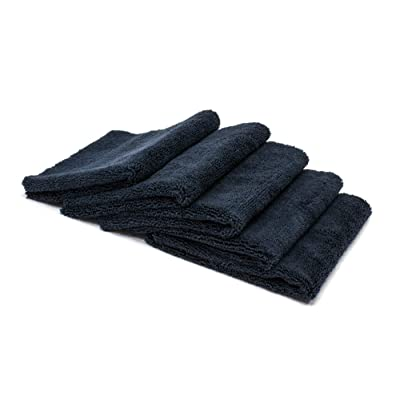 Autofiber Zeroedge Detailing Towel (Pack of 5) Edgeless Microfiber Polishing, Buffing, Window, Glass, Waterless, Rinseless, Car Wash Towels, 360 GSM (Black): Automotive