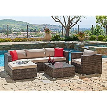 Suncrown Outdoor Furniture Sectional Sofa U0026 Chair (6 Piece Set) All Weather