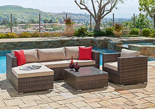 Ultra Poolside Cushion (Suncrown Outdoor Furniture Sectional Sofa & Chair (6-Piece Set) All-Weather Brown Checkered Wicker with Brown Seat Cushions & Modern Glass Coffee Table | Patio, Backyard, Pool | Incl. Waterproof Cover)