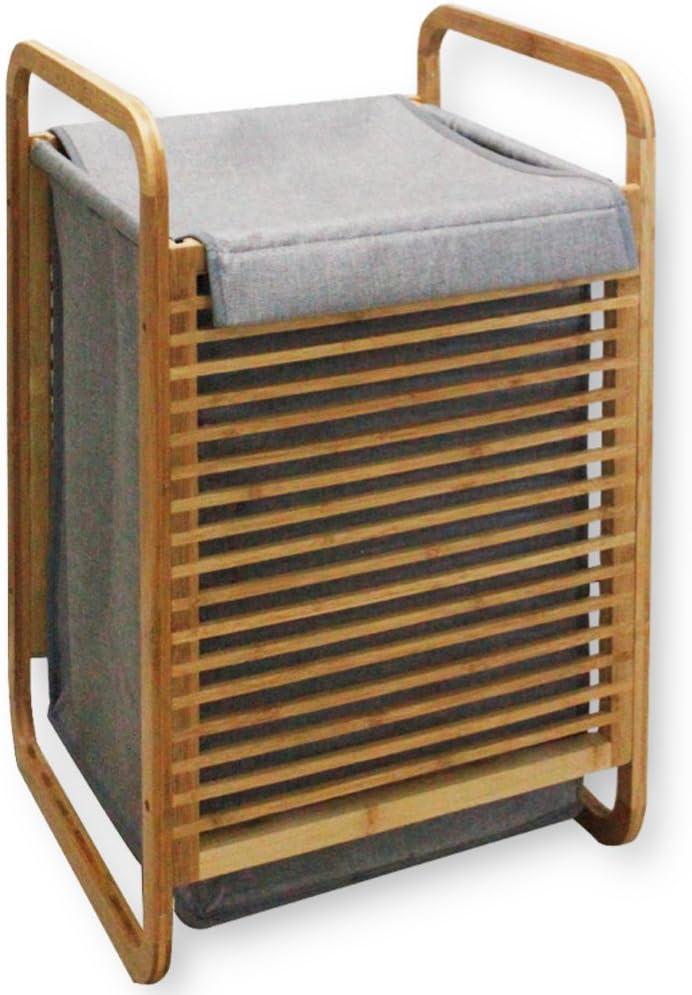 Wäschekorb Wäschetruhe Wäschesammler Bambusholz Grau SH70LCB001-GRA