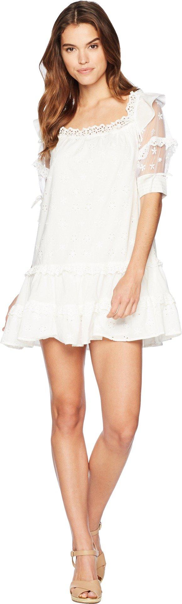 for Love and Lemons Women's Hermosa Eyelet Swing Dress White Large