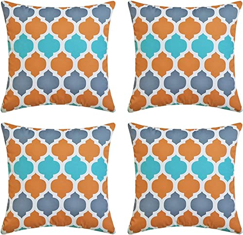 Andreannie Pack of 4 Outdoor Waterproof Decorative Throw Pillow Cover Cushion Case for Garden Tent Park Farmhouse Polyester Both Sides Square 18 x 18 inches Set of A