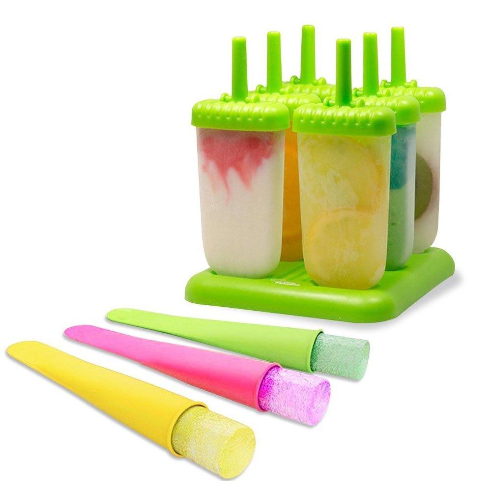 Compra SunBeter 6Pcs moldes para paletas de hielo con 3 piezas de bandeja de moldes para helado de silicona sin BPA (paquete de 9) en Amazon.es
