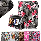 """Cellularvilla (Tm) for Amazon Kindle Fire Hd 7"""" 7 Inch Tablet Slim Fit Pu Leather Book Style Flip Folio Portfolio Stand Case Cover Protector (Many Color Options Available) (Black Pink Flower)"""