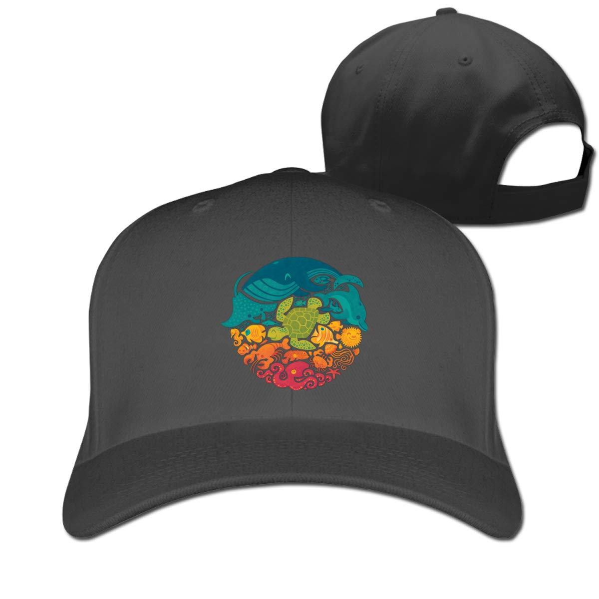 Aquatic Rainbow Fashion Adjustable Cotton Baseball Caps Trucker Driver Hat Outdoor Cap Black