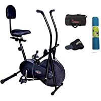 Lifeline Exercise Air Bike with Back Seat | Bundles with the Bag, Sweat Belt, Tummy Trimmer, and Yoga Mat