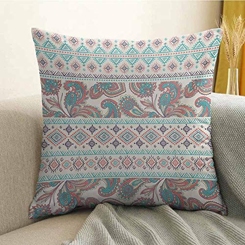 - FreeKite Tribal Silky Pillowcase Paisley Patterns in Native Aztec in Mixed Pattern Floral Ethnic Design Super Soft and Luxurious Pillowcase W18 x L18 Inch Cream Aqua and Coral