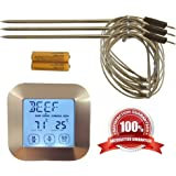 The Clever Life Digital Meat Thermometer with 3 Stainless Steel Temperature Probes, Silver