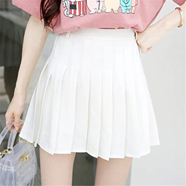 fe92e36f16 Image Unavailable. Image not available for. Color: High Waist Short Pleated  Skirt Women Mini Sexy Pink Summer Skirts Womens Leggings Female kawaii Sun