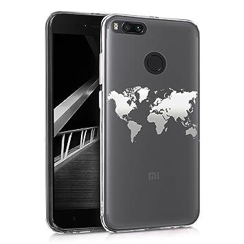 kwmobile Funda compatible con Xiaomi Mi 5X / Mi A1 - Carcasa de [TPU] con diseño de mapa del mundo en [plata / transparente]