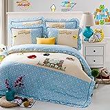 Newest Lovely Original Pattern Childen Pleat Pillow Bordered Sheet bedding Sets Birds Blue 200*230cm