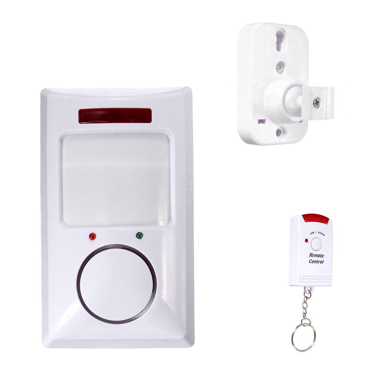 Detector de infrarrojos SODIAL detector de sensor de movimiento de IR inalambrico /& sistema de alarma de seguridad remoto de casa blanco R
