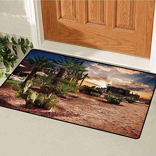 GUUVOR Desert Welcome Door mat Majestic Sky View Palm Trees and Cactus in Oasis Morocco Tropic Nature Door mat is odorless and Durable W29.5 x L39.4 Inch Blue Green Pale Brown (Bowling Palm Desert)