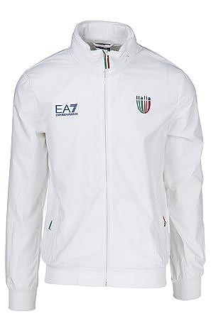 Emporio Armani EA7 Blouson Homme en Nylon Italia Team Blanc EU M (UK ... 766b8843c04