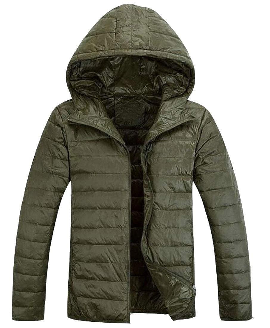 xiaohuoban Men Packable Hooded Lightweight Quilted Jacket Coat