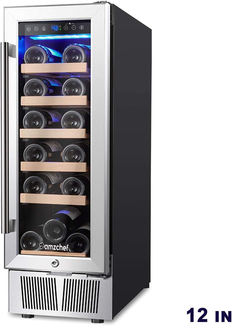 AMZCHEF 12 Wine Cooler, Wine Refrigerator Built-in or freestanding Quiet Constant Temperature