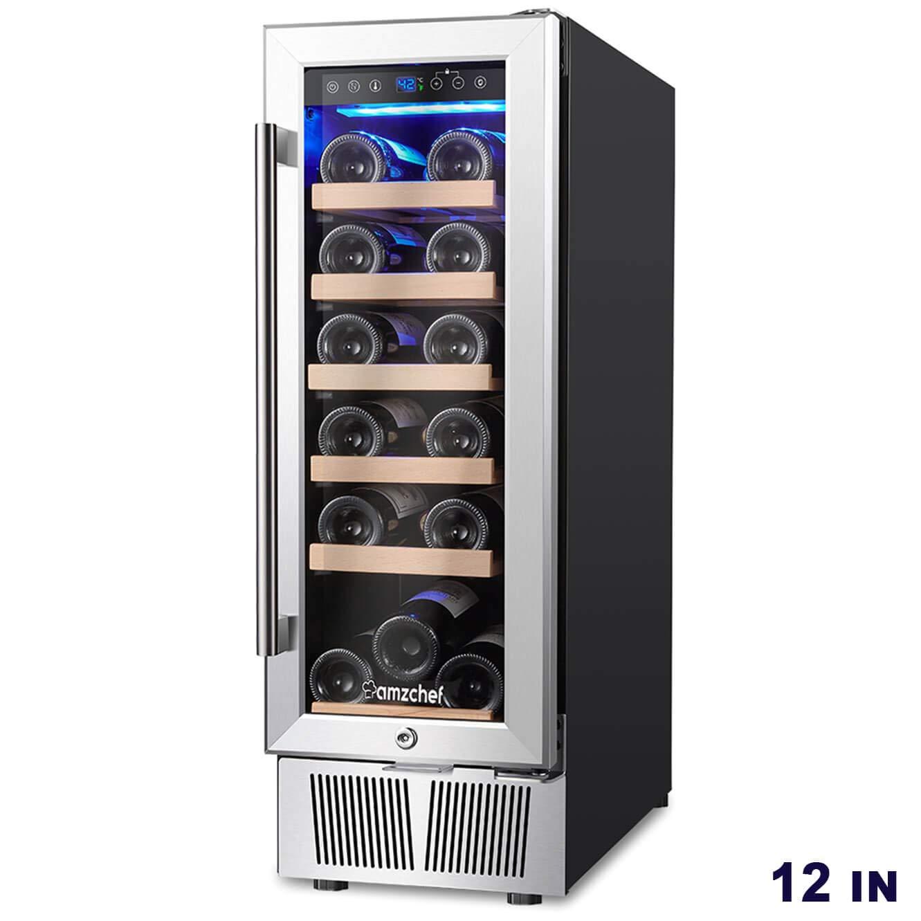 "AMZCHEF 12"" Wine Cooler, Wine Refrigerator Built-in or freestanding Quiet & Constant Temperature"