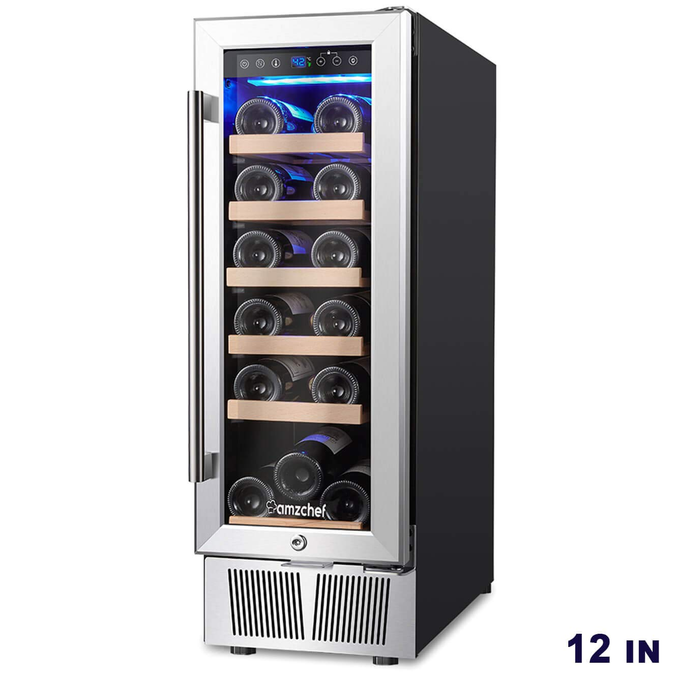 AMZCHEF 12'' Wine Cooler, Wine Refrigerator Built-in or freestanding Quiet & Constant Temperature by BODEGA