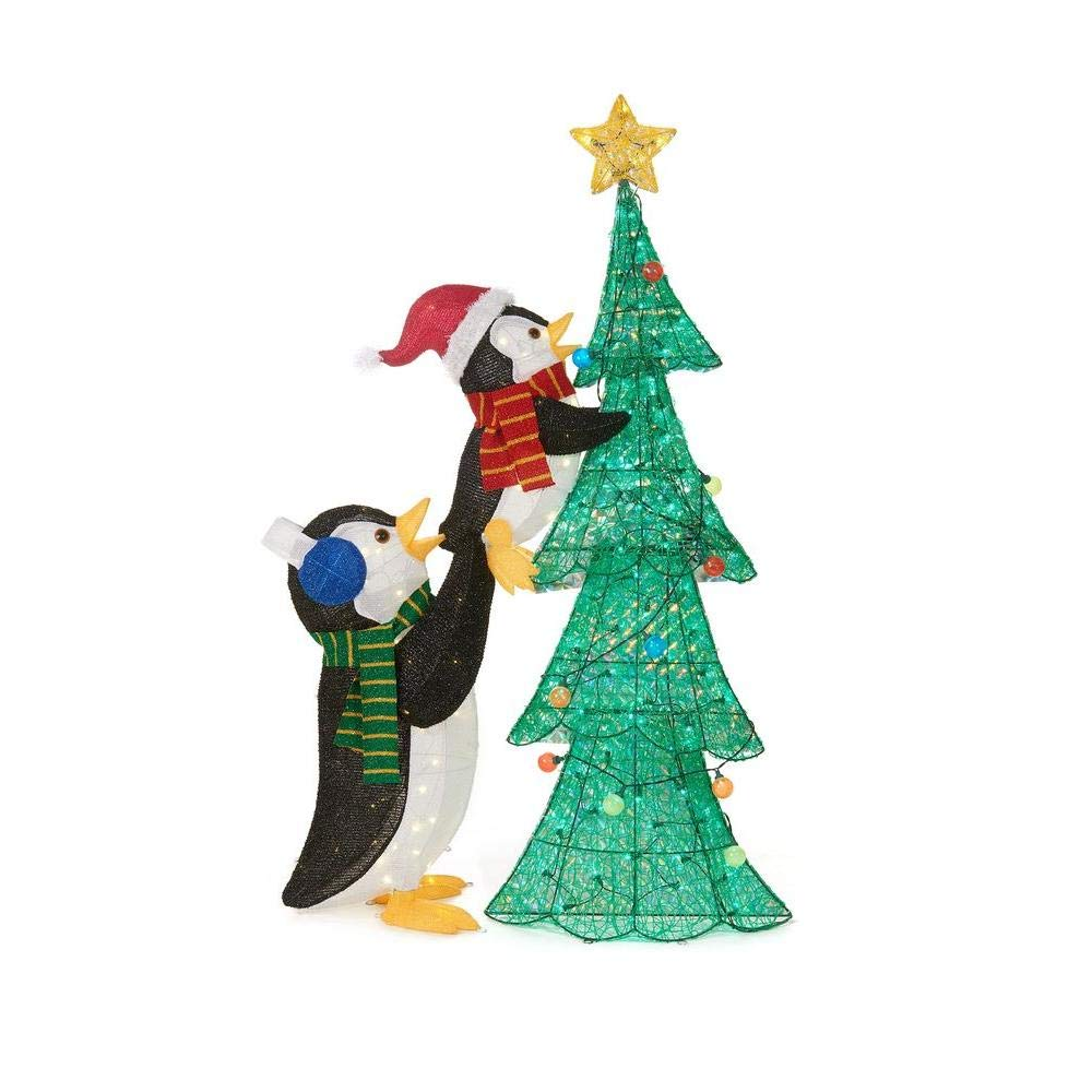 Home Accents 62 in. LED Lighted Tinsel Penguins with Tree